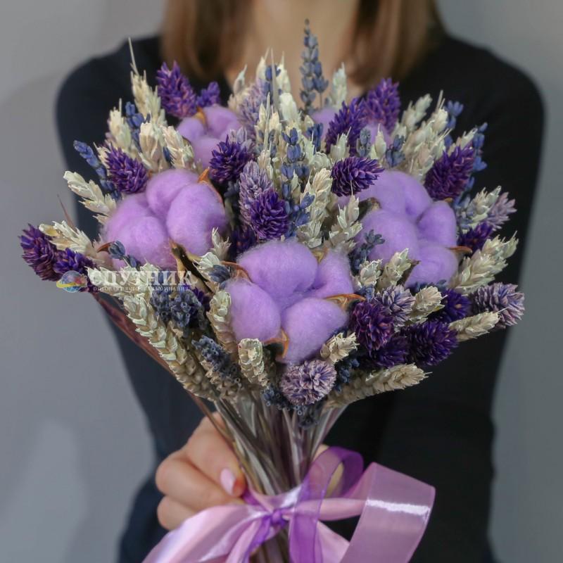 Купить букет из сухоцветов, лаванда, хлопок, букет недорого в спб