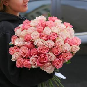 Букет 50 роз Эрмоза+Пинк Мондиаль / 5'300 руб